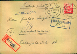 """1947, Einschreiben Mit Teilbarfrankatur """"""""60 Rpf Gebühr Bezahlt"""""""" Ab ROTTWEIL. - Zone Française"""