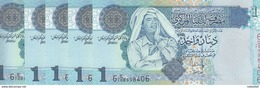 LIBYA 1 DINAR 2004 P-68b SIG/7 Bengadara LOT X5 UNC NOTES  */* - Libya