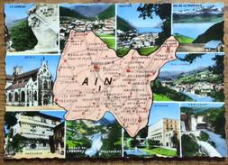 """01 - CPSM Carte & Multi-Vues """"AIN"""" - Neuve - Autres Communes"""