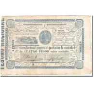 Paraguay, 4 Pesos, 1865, KM:24, Undated (1865), TTB - Paraguay