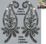 Pair  Appliques Sequin Applikationen Pailletten Handmade Sew On Embroidery Ap31 - Other Collections