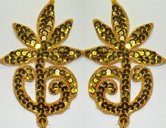 Pair  Appliques Sequin Applikationen Pailletten Handmade Sew On Embroidery Ap37 - Other Collections