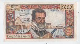 RARE 5000 FRS HENRY  IV.  DU 7.02.1957.UN DES BILLETS LES PLUS RECHERCHES. TTB+ - 1871-1952 Circulated During XXth