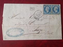 1866 PARIS Obli Etoile  Pour Susa Italie - Macon Au Montcenis Au Verso - Caoutchouc BRUNESSEAUX - Postmark Collection (Covers)