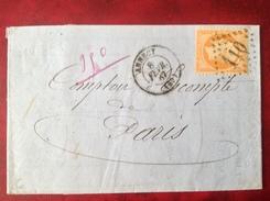 1867 ANNECY Pour PARIS - Marcophilie (Lettres)