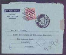 Great Britain UK GB, Postal History Cover - Aerogramme Used 1957 From LONDON - 1952-.... (Elizabeth II)