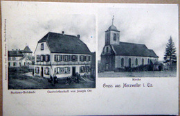 67 MERZWEILER GRUSS VUE MULTIPLE STATIONS GEBAUDE GASTWIRTHSCHAFT  AUBERGE RESTAURANT JOSEPH OTT EGLISEVOYAGE 1900 - Autres Communes