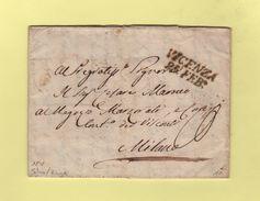 Vicenza - Vicence - Destination Milano - Courrier De Salara 1838 - ...-1850 Préphilatélie