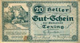 Notgeld 20 Heller Gut-Schein Der Gemeinde Texing (000896) - Oesterreich