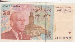 55-Marocco-Cartamoneta-Banconota Q.F.D.S. 20 Dirhams-Stato Di Conservazione: Buono - Marocco