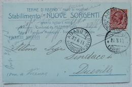 TERME D'ABANO (PADOVA) - STABILIMENTO NUOVE SORGENTI CONDOTTO DA PEZZATO UGO - BAGNI FANGHI MASSAGGI 1913 - 104 ANNI!!! - Padova (Padua)
