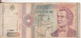 60-Romania-Cartamoneta-Banconota Circolata 1000 Lei Con Ruota E Veliero-Stato Di Conservazione: Mediocre - Roumanie