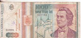 61-Romania-Cartamoneta-Banconota Circolata 1000 Lei Con Stemma E Veliero-Stato Di Conservazione: Mediocre - Rumania