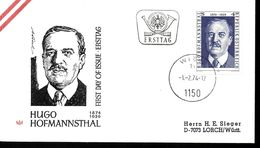 AUTRICHE    FDC  1974   Ecrivains Hugo Hofmannsthal - Schrijvers