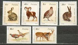 POLAND MNH ** 2829-2834 Faune Lapin Faisan Perdrix Animal Animaux Animals - Ungebraucht