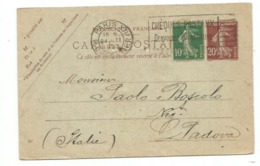 France Semeuse Carte Postale C20 + Timbre C10 Paris 24nov1923 X Italy - Storia Postale