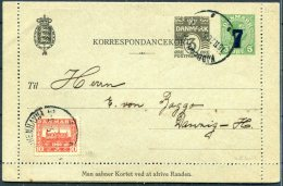 1920 Denmark Uprated 7/5ore + 3ore Stationery Lettercard - Danzig - Covers & Documents