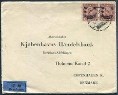 1947 China Shanghai Aege Corrit Provisionals Airmail Cover - Handelsbank,Copenhagen,Denmark. Danish Chamber Of Commerce - China