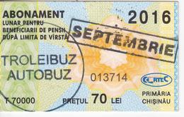Moldova , Moldavie , Chisinau ,  Trolley  Bus  Ticket ,  Monthly Pass , Septembrie,  2016 , Used - Transportation Tickets