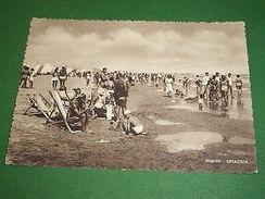 Cartolina Rimini - La Spiaggia 1952 - Rimini