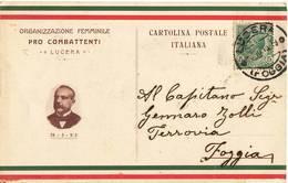 534 FOGGIA LUCERA ORG. FEMMINILE PRO COMBATTENTI - 1900-44 Vittorio Emanuele III