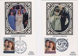 Great Britain First Day Benham Silk Postcards To Celebrate Royal Wedding 1986. - FDC