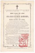 DP Anna Maria E. Blommaerts ° Muysen Muizen 1784 † Mechelen 1875 X Petrus J. Van Loock - Begr. Hofstade - Images Religieuses