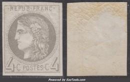 4c Bordeaux Gris Foncé Neuf  * TB (Y&T N° 41Bd , Cote: 750€ ) - 1870 Emission De Bordeaux