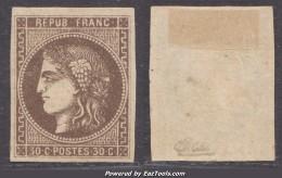 30c Bordeaux 'R Touchant Le Cadre' Neuf * TB Signé CALVES (Dallay N° 47e , Cote 800€) - 1870 Bordeaux Printing