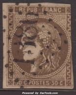 30c Bordeaux Brun Foncé Variété 'Ligne Blanche Derrière La Tête' (Dallay N° 47f , Cote 450€) - 1870 Emisión De Bordeaux