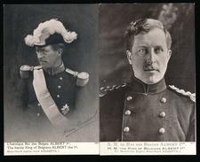 2 KAARTEN - S.M. LE ROI DES BELGES ALBERT Ier - Royal Families