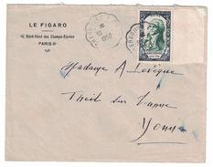 """1950 - TIMBRE N° 871 """" ROBESPIERRE """" CELEBRITÉS REVOLUTION SEUL SUR LETTRE CAD AMBULANT CONVOYEUR CHERBOURG A CA? - Marcophilie (Lettres)"""