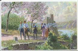 75299 ART ARTE SIGNED PAUL HEY LANDSCAPE WOMAN'S & MAN'S WITH MANDOLIN WALKING POSTAL POSTCARD - Non Classés