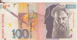 68-Slovenia-Cartamoneta-Banconota Circolata 100 Tolariev-Stato Di Conservazione: Mediocre - Slovenia