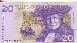 69-Svezia-Cartamoneta-Banconota Q.F.D.S. 20 Kronor-Stato Di Conservazione:buono - Svezia