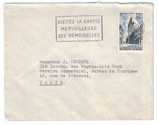 """1956 - TIMBRE N° 1051 """" BEFFROI DE DOUAI """" SEUL SUR LETTRE OMEC MONTPELLIER CENTRALISATEUR GROTTES DES DEMOISELLES - Marcophilie (Lettres)"""