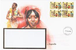 Anguilla 1988 Music Musique Drum Drummer Guitar Folk Folklore Woman, Big Envelope - Anguilla (1968-...)