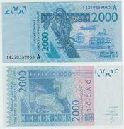 Billet Afrique Occidentale Cote D'Ivoire 2000 Francs Xof Cfa Neuf Jamais Circulés, - Côte D'Ivoire