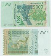 Billet Afrique Occidentale Cote D'Ivoire 5000 Francs Xof Cfa - Côte D'Ivoire
