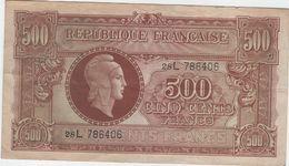 500 FRS MARIANNE  Tresor Central.JUIN 1945. ND.SERIE L.1945.  TTB+ - Trésor