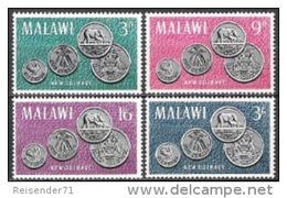 Malawi 1965 Wirtschaft Bankwesen Geldwesen Münzen Coins Money Tiere Animals Fauna Elefanten Wappen, Mi. 23-6 ** - Malawi (1964-...)