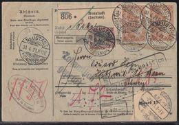 DR Paketkarte Mif Minr.91II,2x 114,2x 153 Neustadt (Sachsen) 30.4.21 Gel. In Schweiz - Briefe U. Dokumente