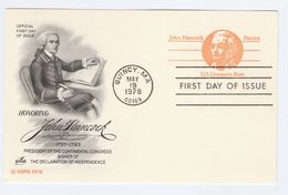 1978 Quincy USA Postal STATIONERY CARD (black)  FDC Illus JOHN HANCOCK  CONTINENTAL CONGRESS Stamps Cover Quill Pen - Postal Stationery