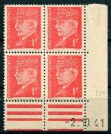 3412  - FRANCE   N°514 **   1Fr Rouge  Pétain  Type  Hourriez   Du   2.10.41    TB - Coins Datés