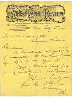 003, Etats-Unis, Lettre Avec Entête Chicago, Wine And Spirit Rewiew, Alcool, 1880 - Etats-Unis