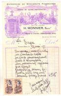 071 France, Facture, Gennevilliers, H Monnier Entreprise De Monuments Funéraires 1930 - France