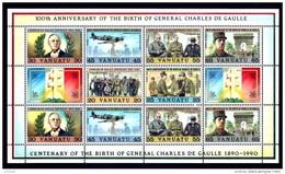 VANUATU- GENERAL DE GAULLE- BLOC & FEUILLET 12 TIMBRES NEUFS **- 100 ° ANNIVERSSAIRE DE LA NAISSANCE- - De Gaulle (General)