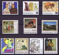 Denmark; 10 Large Stamps - Used - Danemark