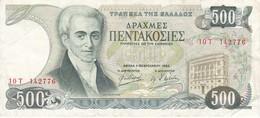 BILLETE DE GRECIA DE 500 DRACMAS DEL AÑO 1983 SERIE 10T (BANK NOTE) - Grecia
