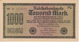 BILLETE DE ALEMANIA DE 1000 MARK DEL AÑO 1922 SERIE BK * (BANKNOTE) SIN CIRCULAR-UNCIRCULATED - [ 3] 1918-1933 : República De Weimar